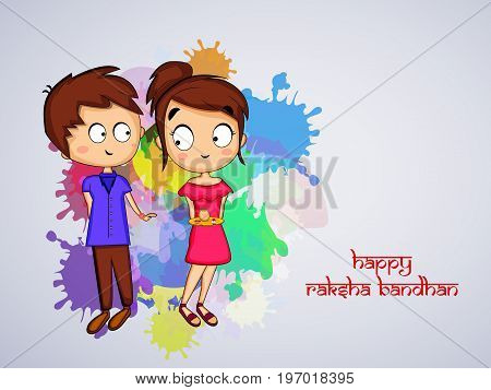 illustration of boy and girl with Happy Raksha Bandhan text on the occasion of hindu festival Raksha Bandhan