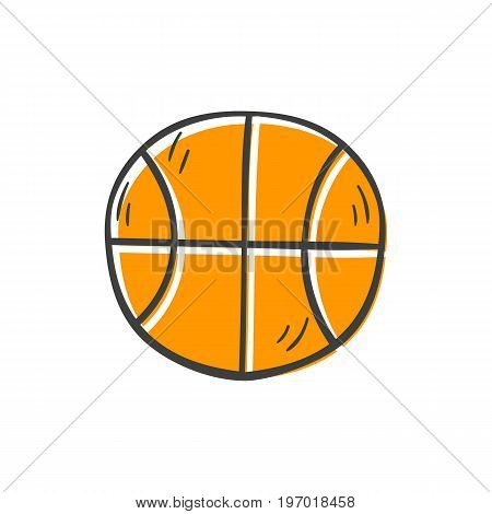 Vector illustration with cartoon hand drawn isolated basketball ball icon. Sport game symbol. Vector team sport equipment icon. High school basketball object on white bavkground. Vector sport icon