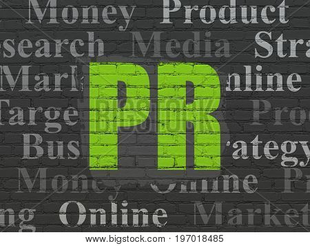 Advertising concept: Painted green text PR on Black Brick wall background with  Tag Cloud