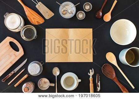 Blank Pages in Notebook Record Recipes Frame Composition from Tableware Preparation Cooking Kitchen Accessories Black Table Wooden Metal Dishes Ware Different Support Stuff Top View. Flat Lay