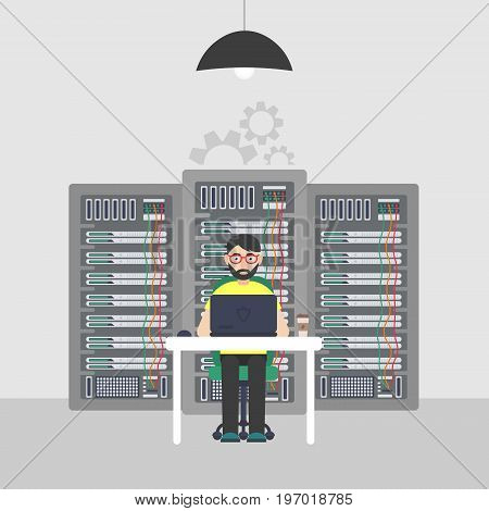 Worker. System Administrator. Technologies Server Maintenance Support Descriptions. Vector illustration in flat style.