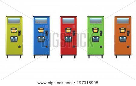 Colorfull Retro Style Soda Machines 3D Illustration