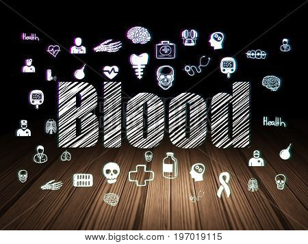 Health concept: Glowing text Blood,  Hand Drawn Medicine Icons in grunge dark room with Wooden Floor, black background