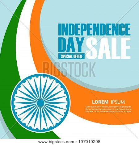 India Independence Day Sale banner. Special offer background for business, promotion and advertising. Vector illustration.