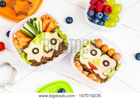 School lunch box for kids. Back to school. Top view