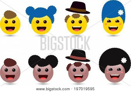 Vector illustration of family of cute smiley emoticons on white background. Set of volume smiling yellow and brown woman, man, kids emoji. Smile icons of friends with hair. Funny expressing social smileys