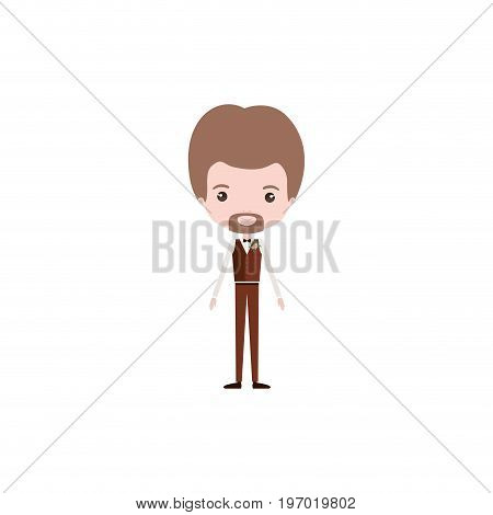 colorful caricature groom guy in wedding formal suit with van dyke beard vector illustration