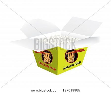 Takeaway box with boiled rice on white background