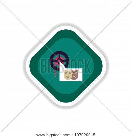 paper sticker on white background film mask
