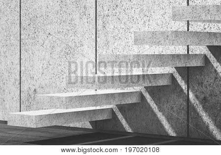 White Concrete Stairs On Wall. 3D Render Illustration