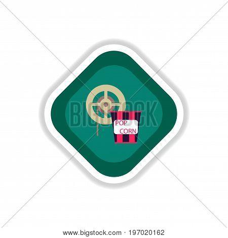 paper sticker on white background popcorn Cinema