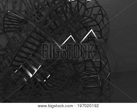 3D Physical Wire-frame Structure In Dark Room