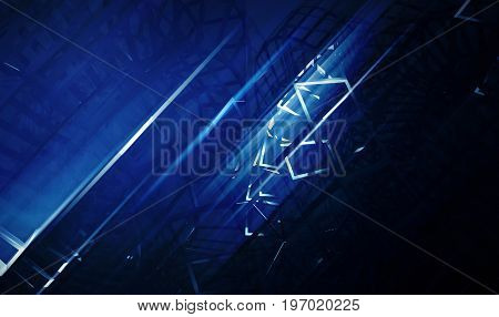 Intersected Physical Wire-frame Structures In Dark