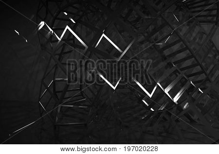 Intersected Black Wire-frame Structures In Dark