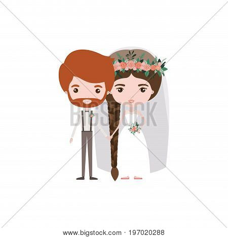 colorful caricature newly married couple groom with formal wear and bride with braids hairstyle vector illustration