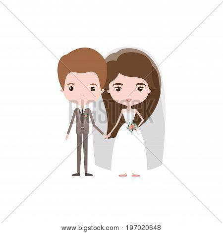 colorful caricature newly married couple groom with formal wear and bride with long hairstyle vector illustration