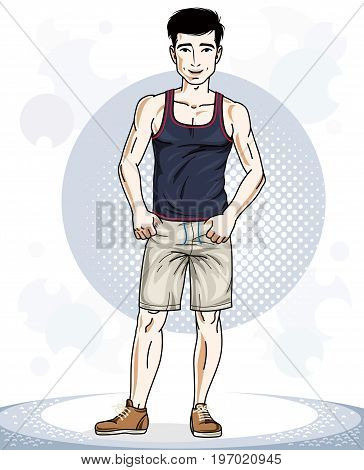 Happy brunet athletic young adult man standing. Vector character wearing sport clothes healthy lifestyle and fitness theme.