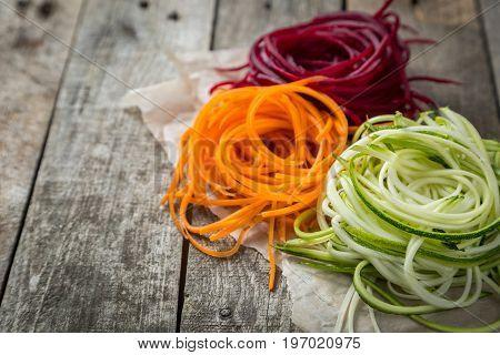 Vegetable noodles - low carb pasta alternative, healthy lifestyle concept