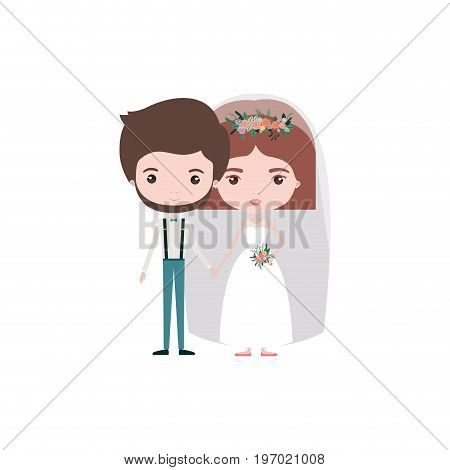 colorful caricature newly married couple groom with formal wear and bride with straight short hairstyle vector illustration