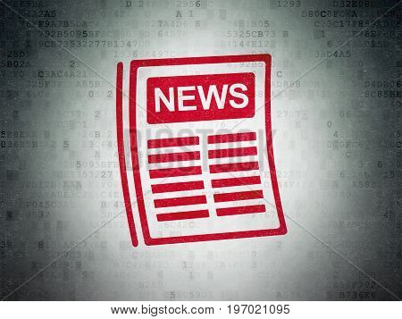 News concept: Painted red Newspaper icon on Digital Data Paper background