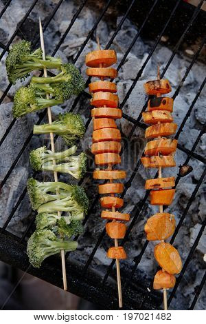 fresh raw vegetable kebab on bbq grid cooked over hot burned charcoal