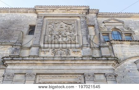 Baeza Cathedral stone facade Jaen in Spain