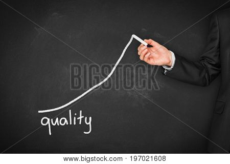 Manager (businessman, coach, leadership) plan to improve products quality.