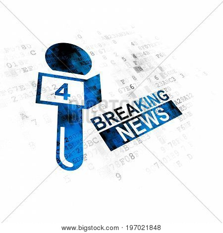 News concept: Pixelated blue Breaking News And Microphone icon on Digital background