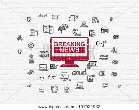 News concept: Painted red Breaking News On Screen icon on White Brick wall background with  Hand Drawn News Icons