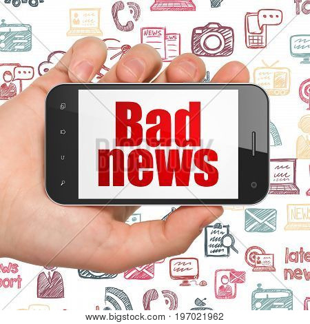 News concept: Hand Holding Smartphone with  red text Bad News on display,  Hand Drawn News Icons background, 3D rendering