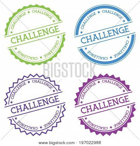 Challenge Badge Isolated On White Background. Flat Style Round Label With Text. Circular Emblem Vect