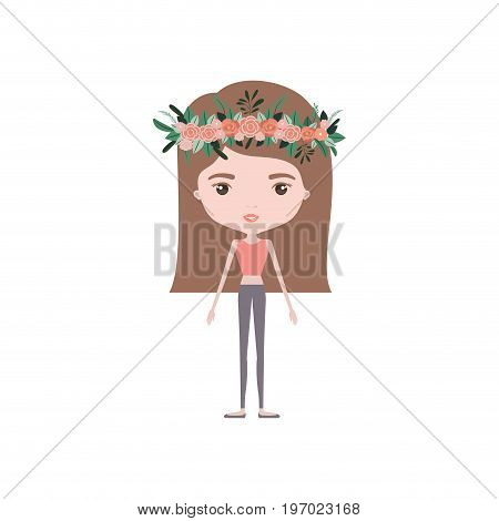 colorful caricature skinny woman in clothes with straight medium hairstyle and flower crown accesory vector illustration poster