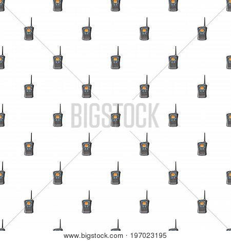 Portable handheld radio pattern seamless repeat in cartoon style vector illustration