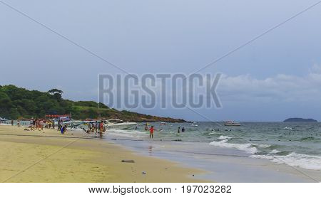 RAYONG THAILAND - 7 Jul 2017: Tourists are walking and swimming at Koh Samet a beautiful tourist attraction in Thailand.