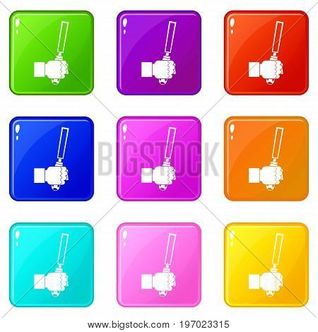Chisel tool in man hend icons of 9 color set isolated vector illustration
