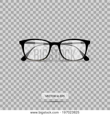 Eyeglasses. Vector Illustration. Geek Glasses Isolated On A White Background. Realistic Icon Eyeglas