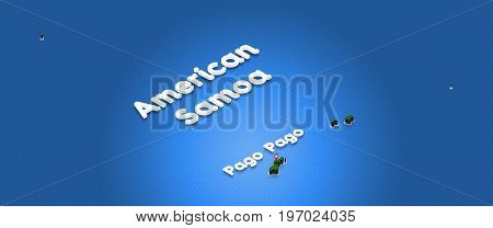 Map Of American Samoa. 3D Isometric Perspective Illustration.