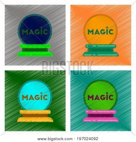 assembly flat shading style icon of magic ball