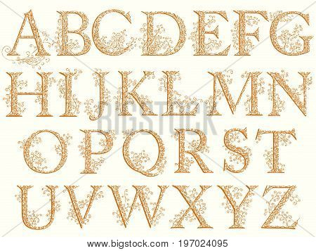Set of fishnet (lace) alphabet font with capital letters.