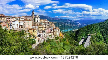 beautiful villages of Itay  - Colledimezzo in Abruzzo, Lago di Bomba
