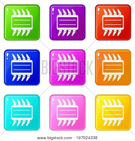 CPU icons of 9 color set isolated vector illustration