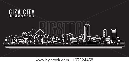 Cityscape Building Line art Vector Illustration design - Giza city