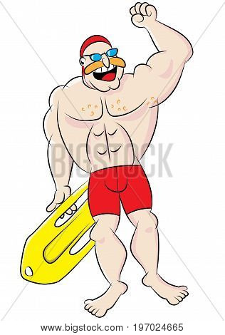 funny safety and rescue lifeguard character cartoon vector illustration