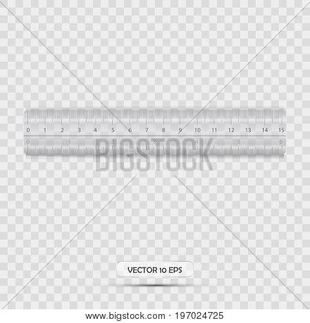 Ruler Icon Realistic With Transparent Background. Vector Illustration. Plastic Ruler.