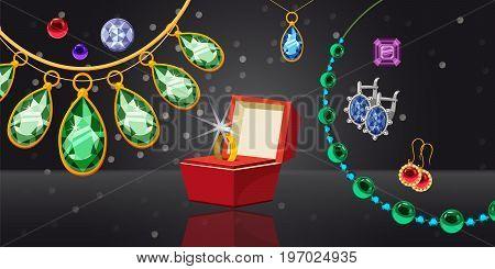 Jewelry wedding horizontal concept. Cartoon illustration of jewelry wedding banner horizontal vector for web