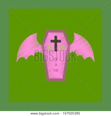 flat shading style icon of wings coffin