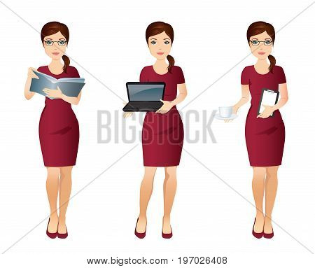 Young office woman Assistant in different poses / Woman in red dress is holding a book, planer, laptop, cup of coffe. Flat design. Vector illustration