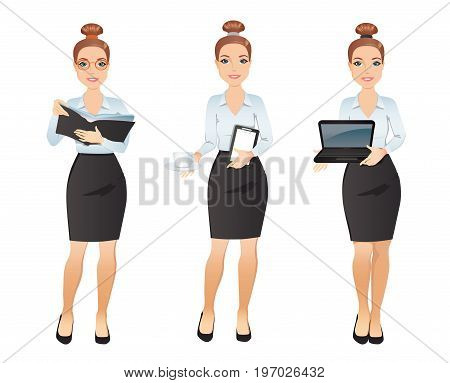 Set professional woman assistant, dress code. Young woman Assistant in different poses: holding a book, planer, laptop, cup of coffe. Flat design. Vector illustration