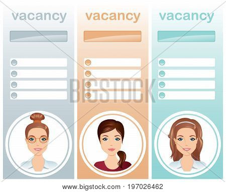 Staff recruitment,Vacancies Females / Set of 3 layout for job interview. Flat design, vector illustration