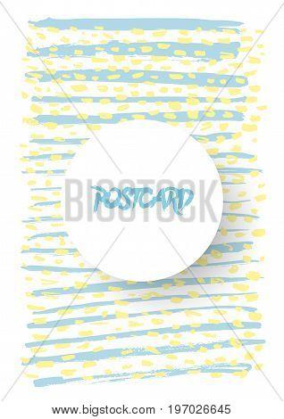 Modern grunge brush postcard template, art vector card design, funny hipster design, doodle background